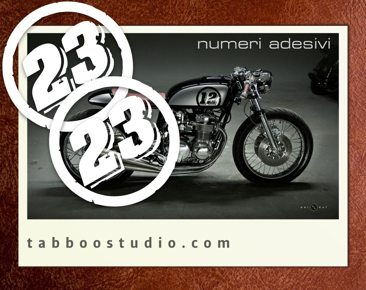 Coppia adesivi numero personalizzato targa moto corsa cafè racer sticker cross