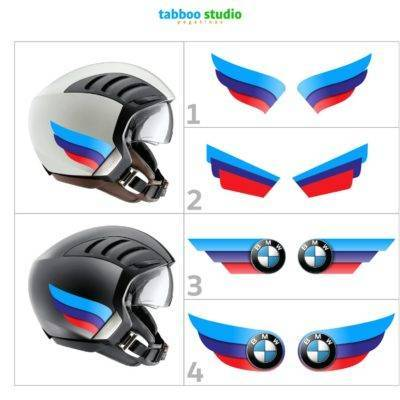 2 BMW tricolor stickers for helmet