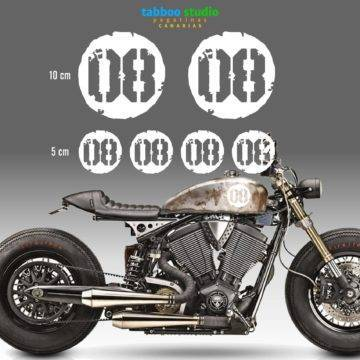 Round Cafe racer numbers