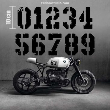 2 numeri adesivi moto nero
