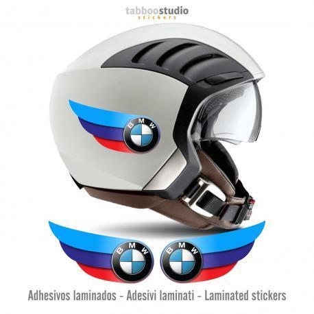 2 adesivi BMW tricolore per casco